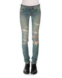 Distressed Low-Rise Skinny Jeans