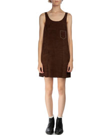 Suede Patch-Pocket Tank Dress
