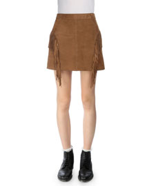 Fringed Suede Mini Skirt, Tobacco
