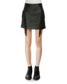 Fringed Leather Mini Skirt, Black