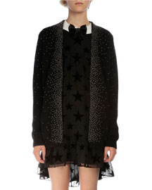 Oversized Studded Open-Front Cardigan, Black
