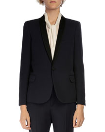 Shawl-Collar One-Button Jacket, Navy/Black