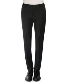 Virgin Wool Tuxedo Pants, Navy