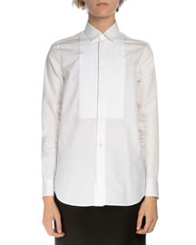 Long-Sleeve Pintucked Poplin Tuxedo Shirt, White