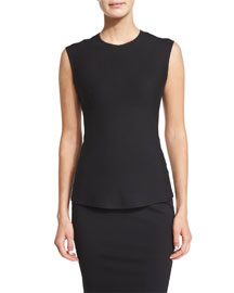 Sleeveless Jewel-Neck Shell Top, Black