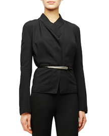 Long-Sleeve Structured Jersey Jacket, Black