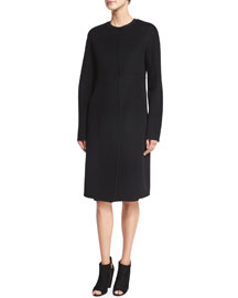 Collarless Double-Face Cashmere Coat, Black