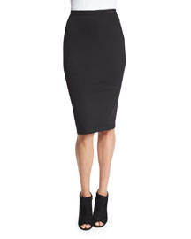Structured Jersey Pencil Skirt, Black