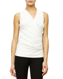 Stretch-Jersey Wrap-Front Top, Ivory