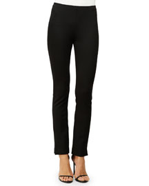 Structured Jersey Pull-On Pants, Black