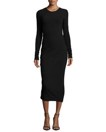 Cool Wool-Jersey Long-Sleeve Midi Dress, Black