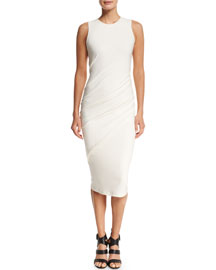 Sleeveless Cashmere-Jersey Drape-Front Dress, Ivory