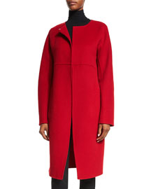Felted Collarless Coat, Lacquer
