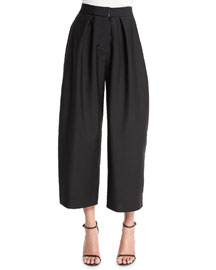 Wide-Leg Cropped Jacquard Pants, Black