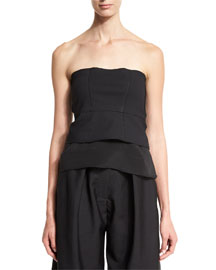 Strapless Stretch-Knit Peplum Top, Black