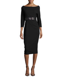 Ultra-Stretch 3/4-Sleeve Sheath Dress, Black