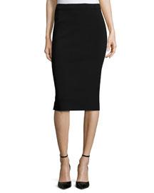 Crepe Pull-On Pencil Skirt, Black