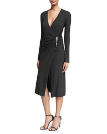 Long-Sleeve Ruched Jersey Dress, Black
