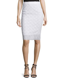Guipure Lace Pencil Skirt, White