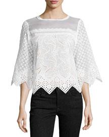 Cotton Eyelet Zigzag Top, White