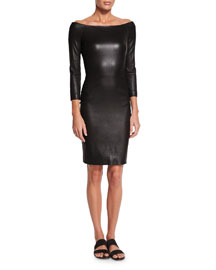 Off-the-Shoulder Fitted Leather Dress, Black