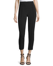Slim Crepe Ankle Pants, Black