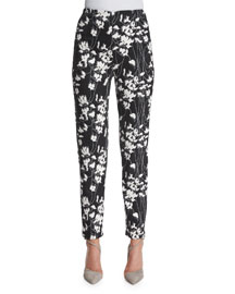 Floral-Print Slim-Fit Ankle Pants, Black/Ivory