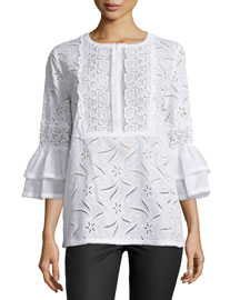 Cotton Eyelet Ruffle-Sleeve Tunic, White