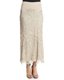 Slim-Fit Lace Combo Midi Skirt, Natural