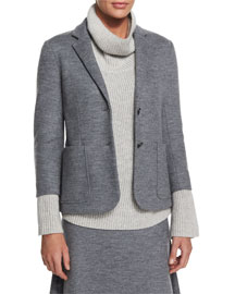 Naven Wool-Jersey Schoolboy Jacket, Medium Gray Melange