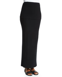 Ribbed-Top Long Cashmere Skirt, Black