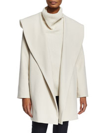 Shawl-Collar Crepe Belted Jacket
