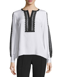 Long-Sleeve Lace-Trimmed Silk Top, White