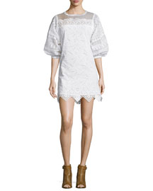 Cotton Eyelet Puff-Sleeve Dress, White