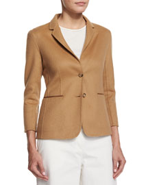Wool Two-Button Schoolboy Jacket, Camel