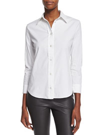3/4-Sleeve Stretch-Cotton Blouse