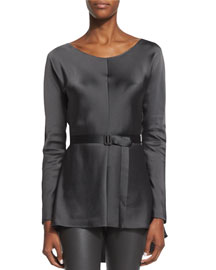 Isa Belted High-Low Satin Top, Pewter