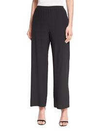Wide-Leg Silk Trousers, Black