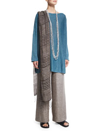 Hand-Knotted Striped Linen Scarf