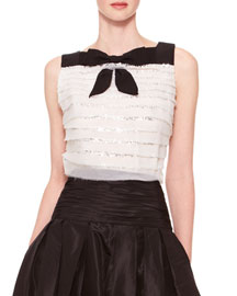 Sleeveless Tiered Bow Top, Ivory/Black