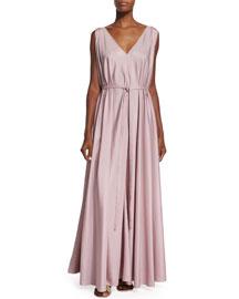 Silk Organza Self-Belt Gown, Cinder Rose