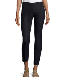 Caro Seamed Side-Zip Wool-Blend Pants, Dark Navy