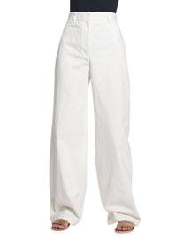Wide-Leg Denim Jeans, White