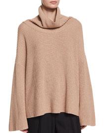 Kaima Ribbed Knit Dolman-Sleeve Turtleneck Sweater