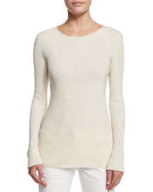 Aven Long-Sleeve Cable-Knit Sweater, Natural