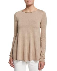 Abelle Knit Swing-Hem Sweater, Soapstone