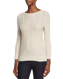 Cable-Knit Cashmere/Silk Sweater, Cream