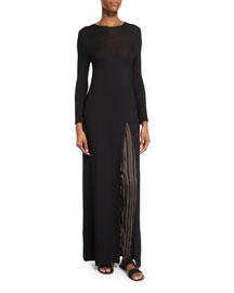 Ethel Long-Sleeve High-Slit Tunic Dress, Black