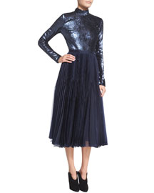 Sequined Long-Sleeve Open-Back Dress, Slate Blue
