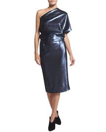 Sequined One-Shoulder Dress, Slate Blue